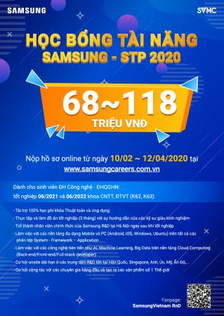 HỌC BỔNG TÀI NĂNG SAMSUNG – STP 2020